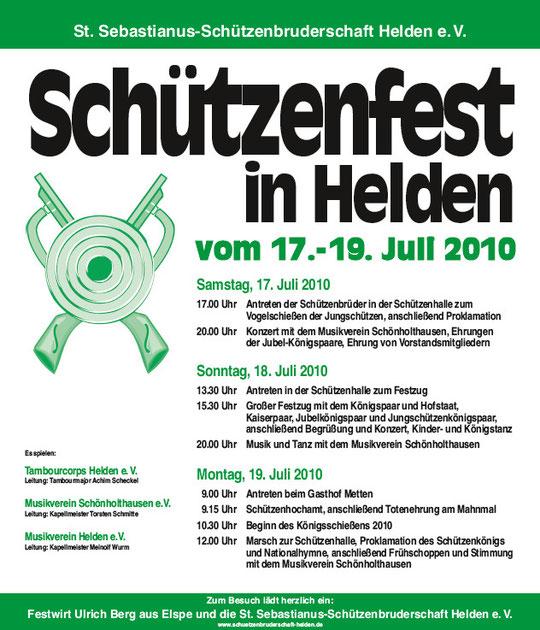 Das Plakat zum Schützenfest 2010