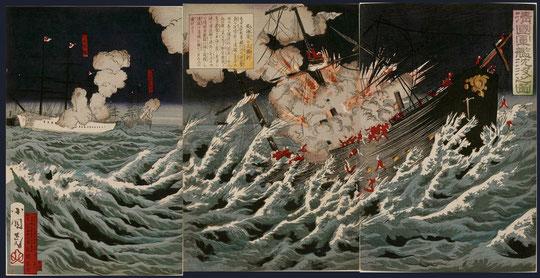 16清国軍艦沈没之図