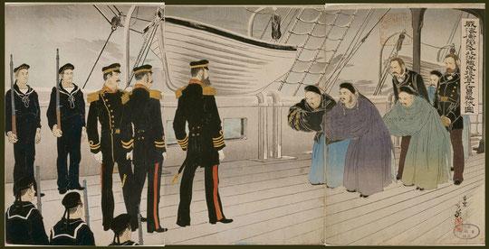 113威海衛陥落北洋艦隊提督丁汝昌降伏ノ図