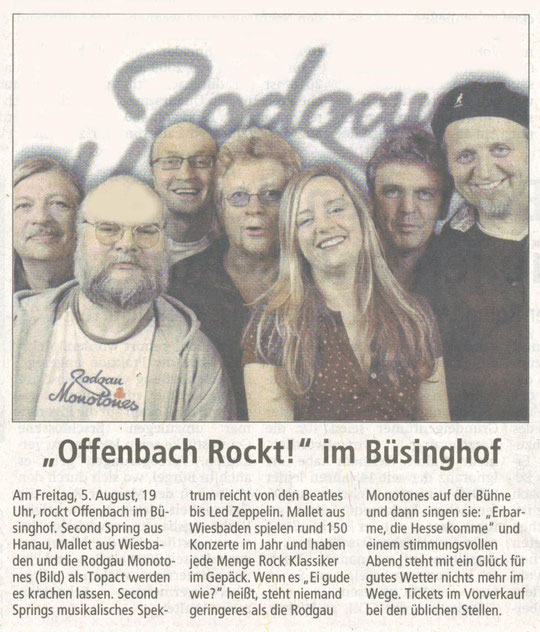 Offenbach Post, 28. Juli 2011 (and again: Tolle Titelzeile)
