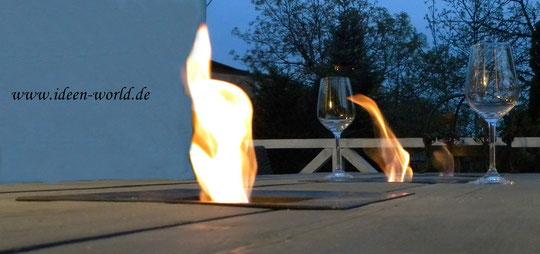 Tisch mit Feuerstelle Bioethanol Brenngel