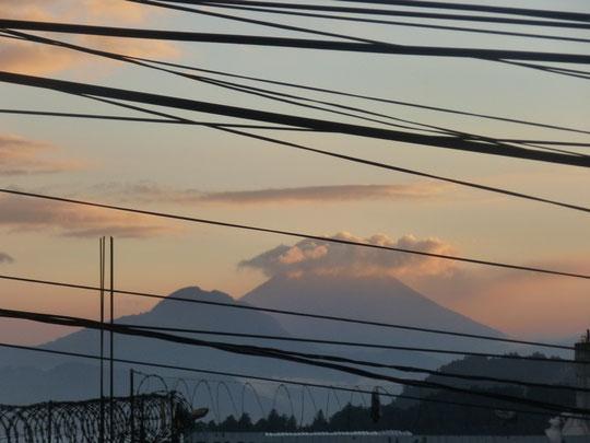 Vu de notre chambre, le volcan Santa Maria