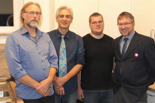 v. l. Dipl.-Ing. Alexander Bering, Dipl.-Ing. Joachim Otto, Thorsten Hahn und Pfarrer Arno Wilke; Foto: C. Wilke