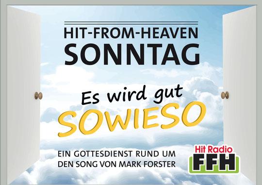 """Grafik zum Hit-From-Heaven-Sonntag 2018. Song """"Sowieso"""" von Mark Forster"""