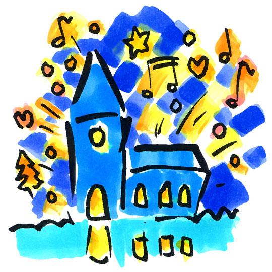 Zeichnung einer erleuchteten Kirche. Ausgehend vom Kirchengebäude fliegen gelbe Sterne, organgene Herzen und verschiedene Noten durch die Nacht.