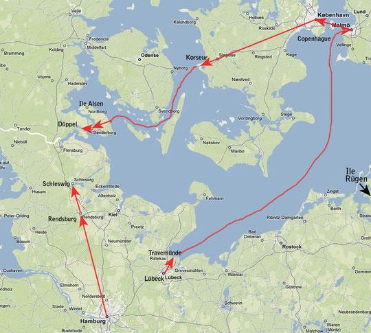 Itinéraire de Oscar Comettant