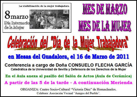 """Cartel """"Día de la Mujer 2011"""" en Mesas del Guadalora"""