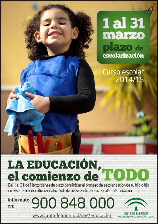 """ABIERTO EL PLAZO DE ESCOLARIZACIÓN CURSO ESCOLAR 2014/15. - Haz """"clic"""" en la imagen para ampliar."""