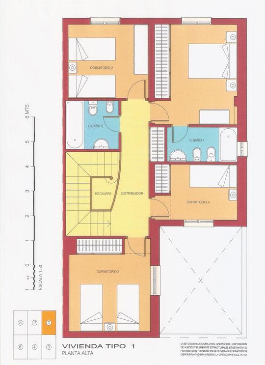 Plano PLANTA ALTA Vivienda Tipo 1 de PROANJOL, S. L. en Mesas del Guadalora