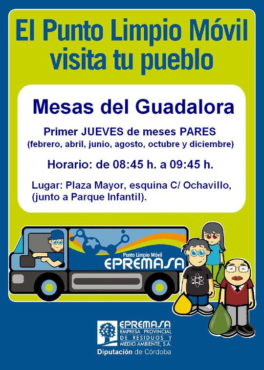 """Cartel """"EL PUNTO LIMPIO MÓVIL VISITA MESAS DEL GUADALORA"""". - Haz """"clic"""" en la imagen para ampliar."""