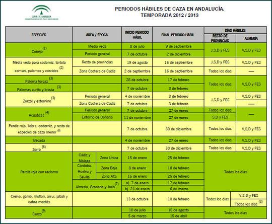 """Tabla Periodos Hábiles de Caza en Andalucía Temporada 2012/2013. - Haz """"clic"""" en la imagen para ampliar."""