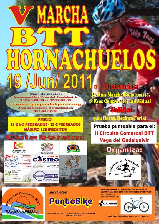 """Cartel de la """"V Marcha BTT de Hornachuelos""""."""