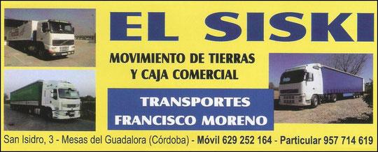 "Transportes FRANCISCO MORENO ""EL SISKI"" de Mesas del Guadalora."