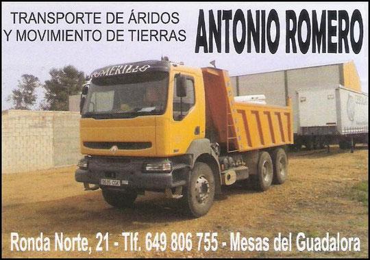 "Transportes ""ANTONIO ROMERO"" de Mesas del Guadalora."