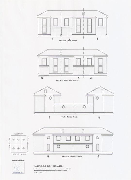 Plano ALZADOS GENERALES Viviendas de PROANJOL, S. L. en Mesas del Guadalora