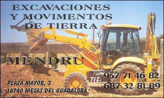 """EXCAVACIONES Y MOVIMIENTOS DE TIERRAS """"MENDRU""""."""