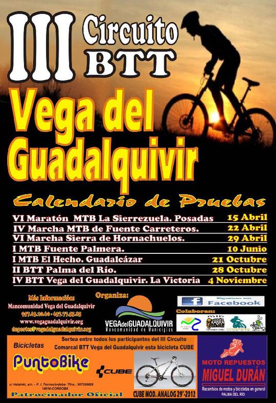 """Cartel """"III Circuito BTT Vega del Guadalquivir"""" - Calendario de Pruebas 2012 - Haz """"clic"""" en la imagen para ampliar."""