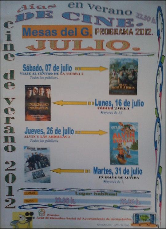 """Cartel """"Cine de Verano 2012"""" en Mesas del Guadalora. - Haz """"clic"""" en la imagen para ampliar."""
