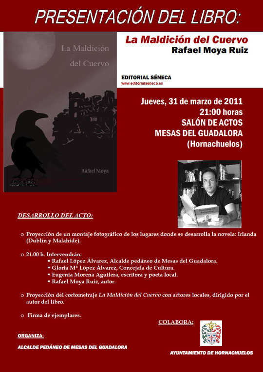 """Cartel presentación en Mesas del Guadalora del Libro """"LA MALDICIÓN DEL CUERVO""""."""