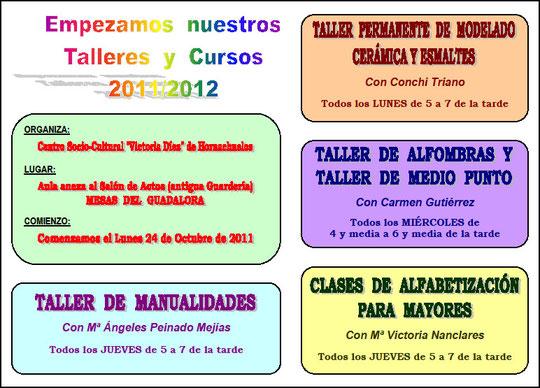 """Cartel """"TALLERES Y CURSOS 2011/2012"""" en Mesas del Guadalora."""