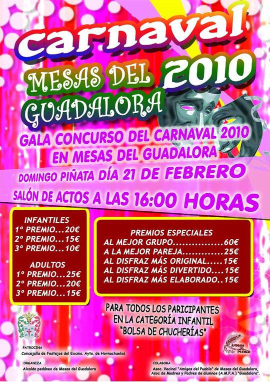 """Cartel """"Gala Concurso del Carnaval 2010"""" en Mesas del Guadalora."""