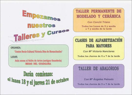 Cartel comienzo Talleres y Clases en octubre de 2010