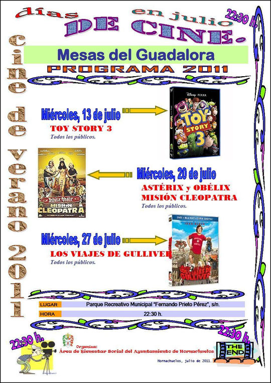 """Cartel """"Cine de Verano 2011"""" en Mesas del Guadalora. - Haz """"clic"""" en la imagen para ampliar."""