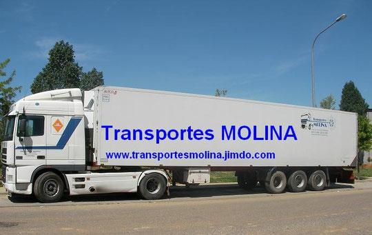 """Camión Trailer con Remolque Frigorífico de """"Transportes MOLINA"""" de Mesas del Guadalora."""