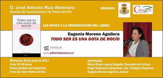 Invitación a la presentación en Palma del Río del Libro de Eugenia Moreno Aguilera.