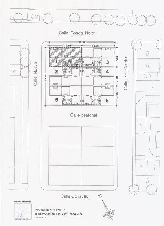 Plano de OCUPACIÓN EN EL SOLAR Vivienda Tipo 1 de PROANJOL, S. L. en Mesas del Guadalora