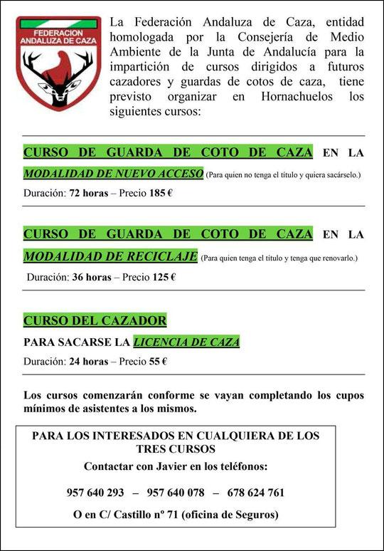 """Curso de GUARDA DE COTO DE CAZA y LICENCIA DE CAZA.- Haz """"clic"""" en la imagen para ampliar."""