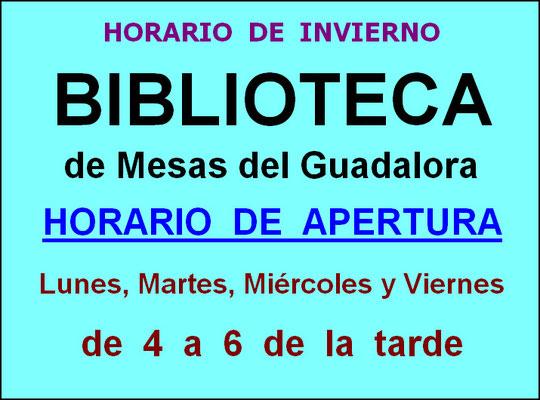 """Horario de Invierno 2013/2014 apertura BIBLIOTECA de Mesas del Guadalora. - Haz """"clic"""" en la imagen para ampliar."""