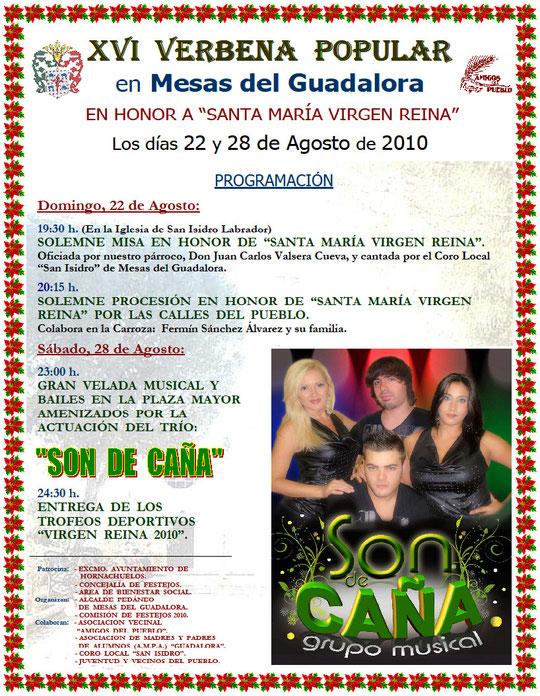 "Cartel ""XVI Verbena Popular"" en Mesas del Guadalora."