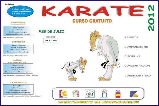 """Cartel """"CURSO DE KÁRATE EN ALDEAS 2012"""". - Haz """"clic"""" en la imagen para ampliar."""