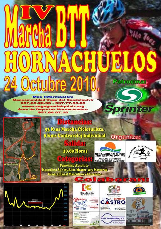 """Cartel de la """"IV Marcha BTT de Hornachuelos""""."""