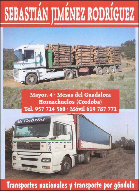 """Transportes """"SEBASTIÁN JIMÉNEZ RODRÍGUEZ"""" de Mesas del Guadalora."""