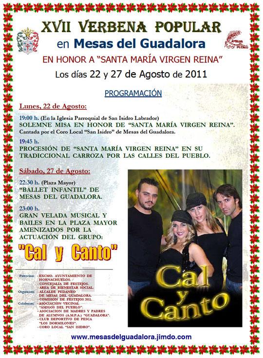"Cartel ""XVII Verbena Popular"" en Mesas del Guadalora."
