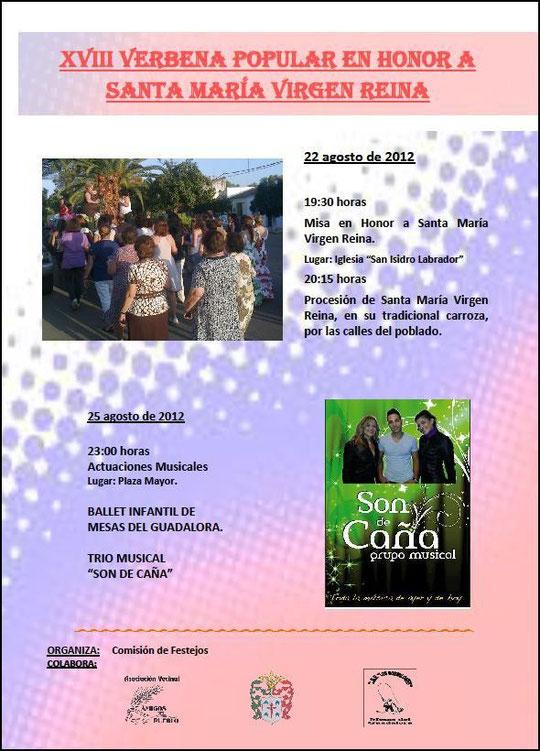 """Cartel """"XVIII VERBENA POPULAR"""" en Mesas del Guadalora. - Haz """"clic"""" en la imagen para ampliar."""