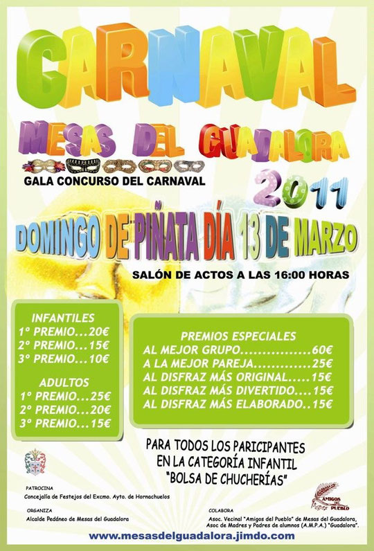 """Cartel """"Gala Concurso del Carnaval 2011"""" en Mesas del Guadalora."""