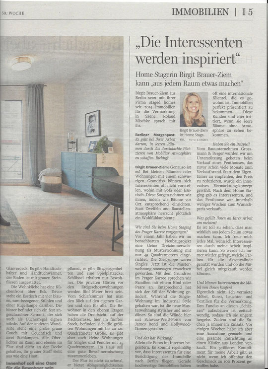 Interview Birgit Brauer-Ziem, staged homes, Berliner Morgenpost, 15.12.2018