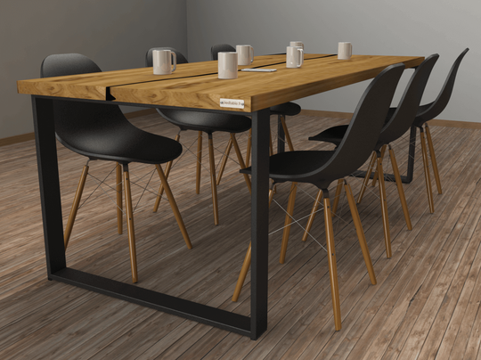 pied de table en métal coloris noir pour table à manger en bois massif