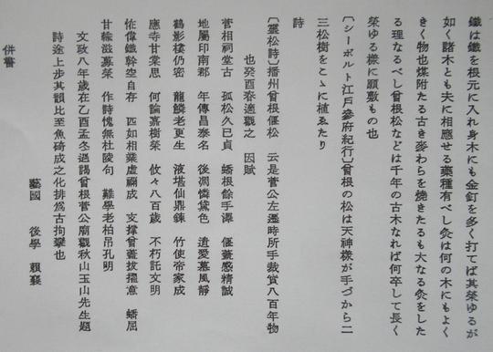 「靈松詩」の冒頭部分 提供/赤松昇さん