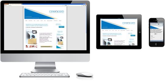 der neue Internetdienst von rexincom unter: rexincom.eu. Darstellung Standardbrowser, mobile Browser.