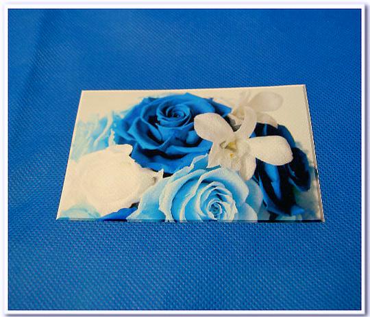 不織布バッグに写真の印刷:不織布スカイブルー色に写真をインクジェット転写
