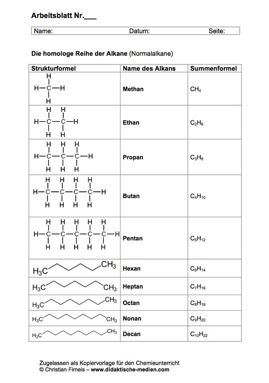Arbeitsblatt für den Chemieunterricht