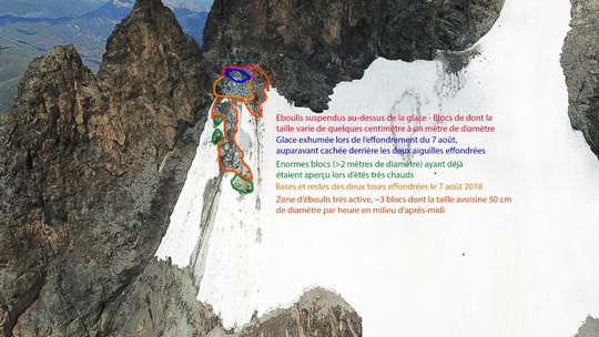 Situation au glacier Carré : Photos de drone (au 19 août) avec l'autorisation du Parc National des Écrins. Merci Benjamin Ribeyre, guide.