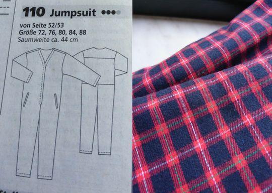 Comfortable jumpsuit with plaid cotton flannel © Burdastyle, Griselka 2021