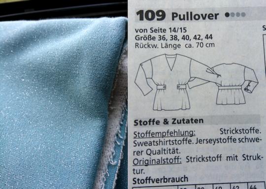Mintfarbener Lurexsweatstoff für Pullover mit Riegeln in der Taille  © Griselka; Burdastyle 2021