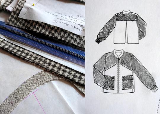 Short jacket with large pockets in two tweed fabrics © Griselka, Burdastyle 2021