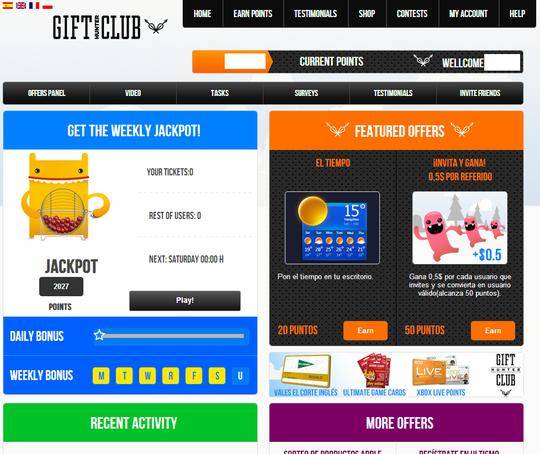 página de inicio GiftHunterClub